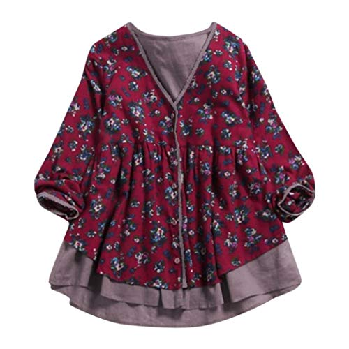 - FEITONG Women Cotton Linen Double-Layer Fake Two Pieces V Neck Coat Blouse(L,Red)