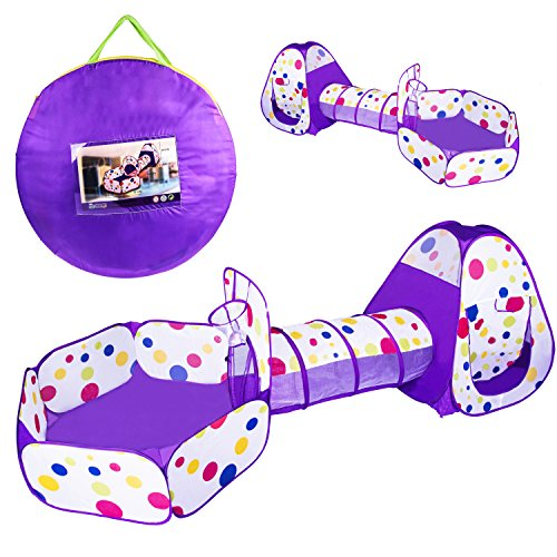 Ball Pit Pop up Tent Toddler Christmas Gift Hide-and-Seek with Crawl Tunnel Basketball Hoop, Indoors and Outdoors for Kids, Babies and Toddlers Crawling and Playing, with Zippered Storage Bag (Purple)