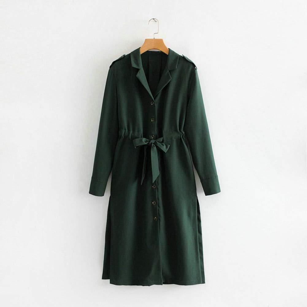 Vert SYDGJLYQ Maxi Robe Femmes côté Ouvert Dame Longue Robe avec écharpes Manches Longues Vintage Robes Vertes Occasionnels S