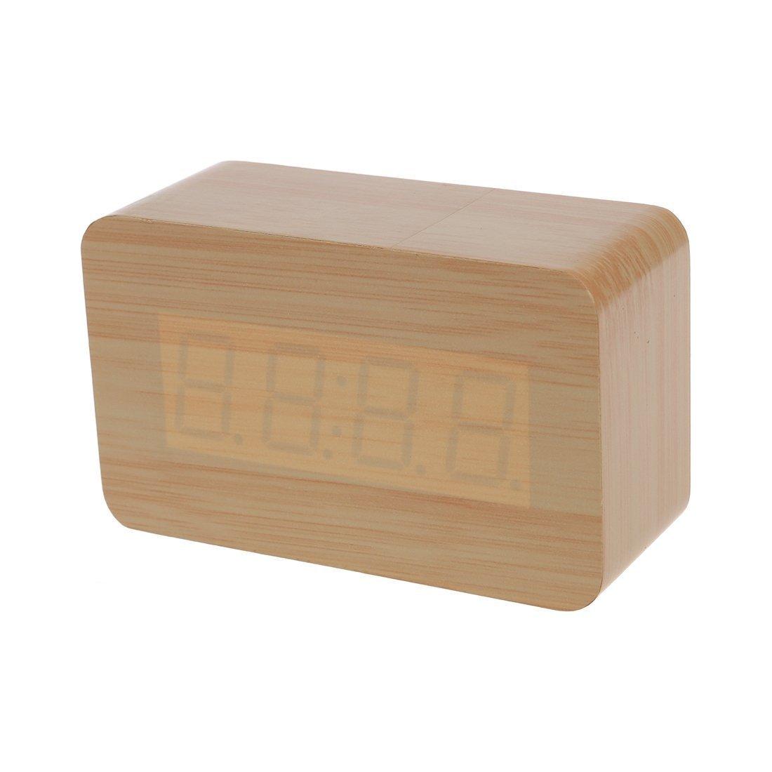 SODIAL(R) Moderno USB de madera de madera / AAA digital LED Reloj Alarma Calendario Termometro Nuevo: Amazon.es: Hogar