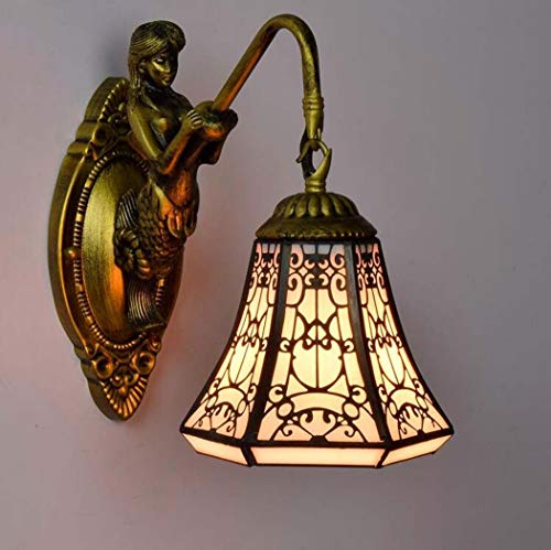 (ChuanHan Creative Tiffany Style Wall Light, European Style Creative Stained Glass Copper Mesh Art Wall Lamp, Arab Halal Style Design Wall Lights for Parlour Bedchamber Bedside Bar Inn, a)