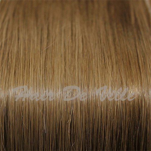 """25 Strands 22"""" Long Micro Loop Ring Beads I Tip Indian Remy Human Hair Extensions Color #6 Light Brown 0.8g Each Strand"""