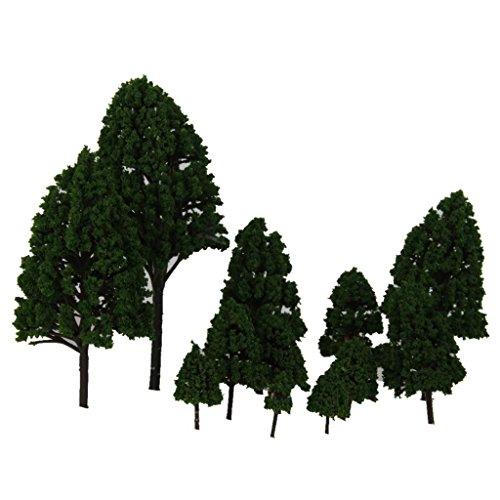12pcs 1:50 Train Scenery Landscape Model Trees (Green) - 3