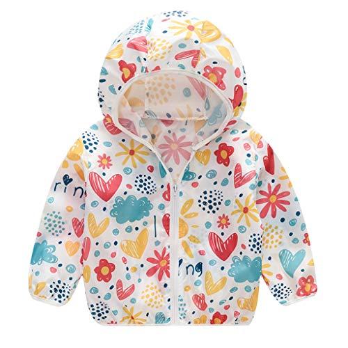 Tantisy ♣↭♣ Kids Girls Boys Summer Hooded Sunscreen Jackets Cartoon Print Summer Outdoor Travel Coat Age 18M-5Y