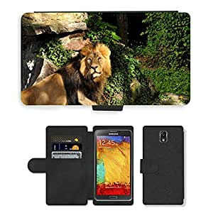PU LEATHER case coque housse smartphone Flip bag Cover protection // M00129580 Lion Zoo Cat Predator Animales // Samsung Galaxy Note 3 III N9000 N9002 N9005
