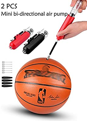Dual Action Ball Pump - 2 PCS basketball pump Fit Balloon, Pool Floats, Volleyball, Soccer, mini fitness ball with Included 8 Needles and 4 Nozzles for sports ball pump, ball air pump, hand pump
