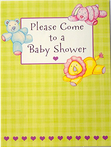 Tender thoughts greetings the best amazon price in savemoney baby shower invitations by tender thoughts 8ct pack with stuffed lion rabbit bear m4hsunfo