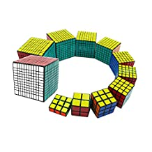 Qm-h Set of Shengshou 11 Pieces 1x3x3 2x2x2 3x3x3 4x4x4 5x5x5 6x6x6 7x7x7 8x8x8 9x9x9 10x10x10 11x11x11 Sticker Speed Magic Cube Puzzle Classical Rubik's Black