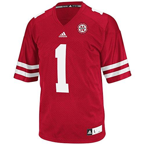 adidas NCAA Nebraska Cornhuskers Men's 3-Stripe Football Jersey, Small, (Nebraska Red Jersey)