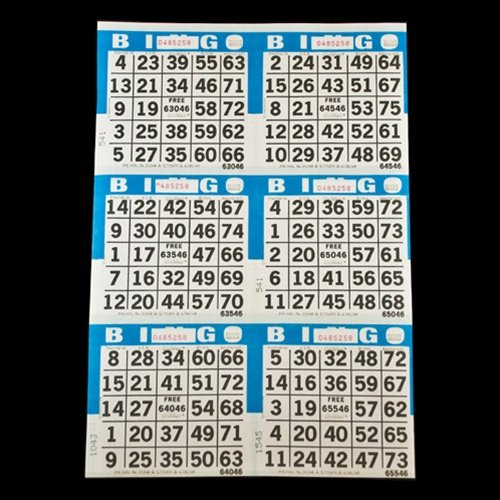 6 on Blue Bingo Paper Cards - 500 sheets - 3000 cards