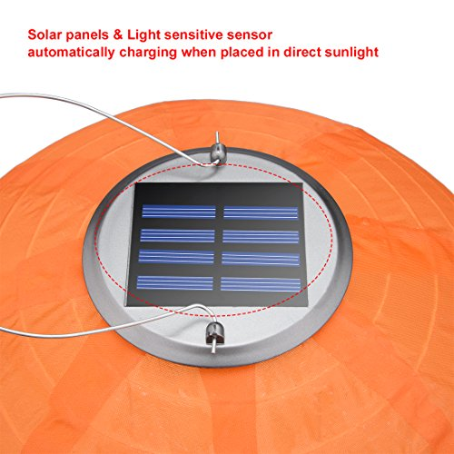 9 Packs Multi-Color 12'' Solar Powered Lanterns Hanging Solar Lamps for Garden by uxcell (Image #3)