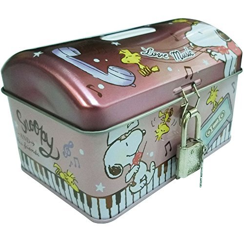 Snoopy Key With Treasure Chest Can Bank Peanuts
