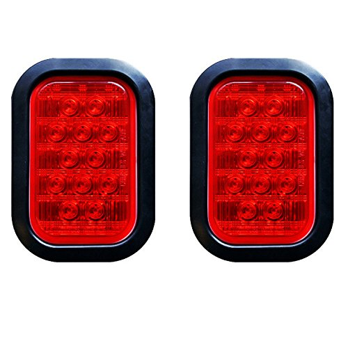 Qty 2 – 5×3″ Red Rectangle 12 LED Stop/Turn/Tail Truck Light Grommet & Pigtail