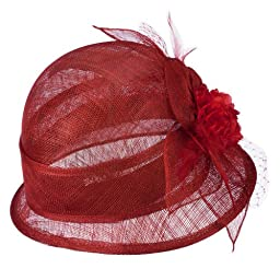 Flower Accent Cloche Sinamay Hat - Red OSFM