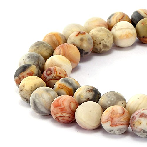 10mm Natural Matte Crazy Lace Agate Beads Round Loose Gemstone Beads for Jewelry Making Strand 15 inch (38-40pcs)