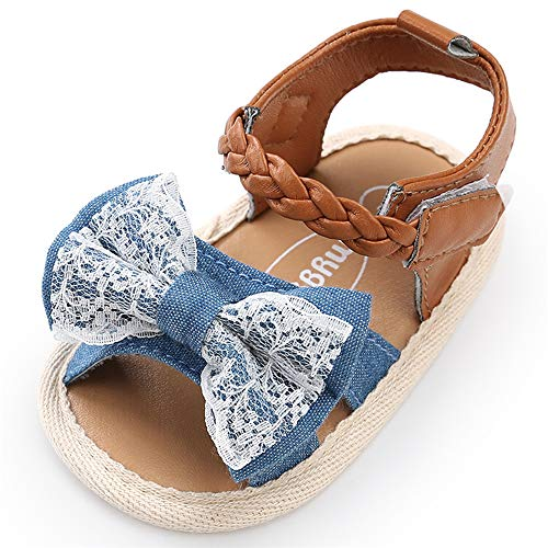 Infant Baby Girls Summer Sandals with Flower Soft Sole Newborn Toddler First Walker Crib Dress Shoes(0-18 Months) 0-6 Months M US Infant,C-Denim Baby Girl Sandals ()