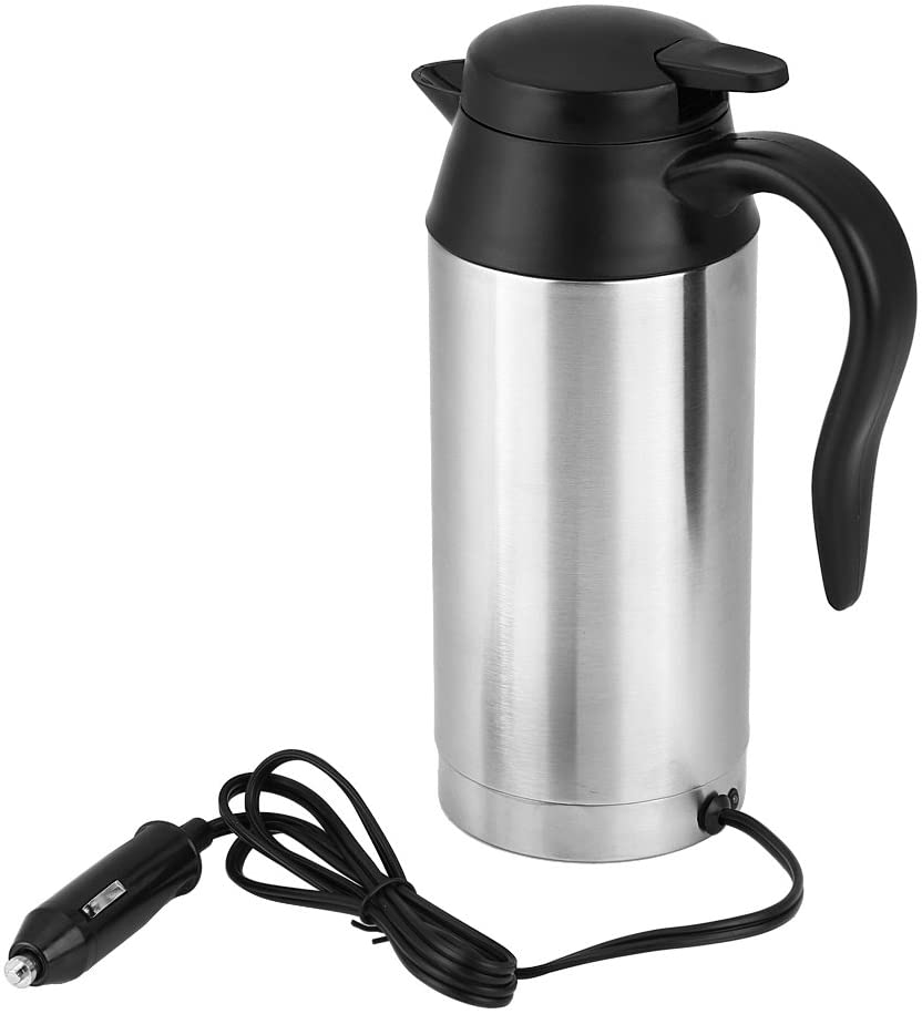 Qiilu 750ml Car Electric Kettle Stainless Steel 12V Automotive Heating Mug Boiler W/Cigarette Lighter for Green Tea Water Milk