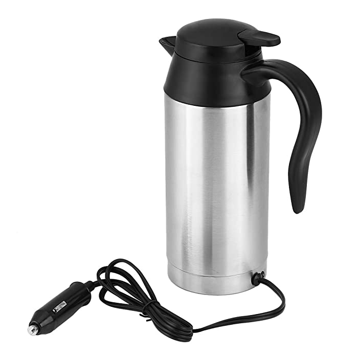 Cuque Car Heated Travel Mug 750ml 304 Stainless Steel PP Vacuum Drinking Water Kettle Powered by 12V Cigarette Lighter Plug Universal Car Electric Heating Bottle Cup Coffee Tea Black Silver