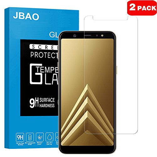 [2-Pack] Samsung Galaxy A6 Plus 2018 Screen Protector, Jbao Direct 9H Hardness [Ultra Clear] [Bubble free] [Highly durable] Premium Tempered Glass Screen Protector for Samsung Galaxy A6 Plus 2018
