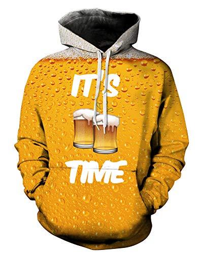 GLUDEAR Unisex Realistic 3D Digital Print Pullover Hoodie Hooded Sweatshirt,Beer,XXL ()