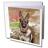 3dRose German Shepherd - Greeting Cards, 6 x 6 inches, set of 12 (gc_3937_2)