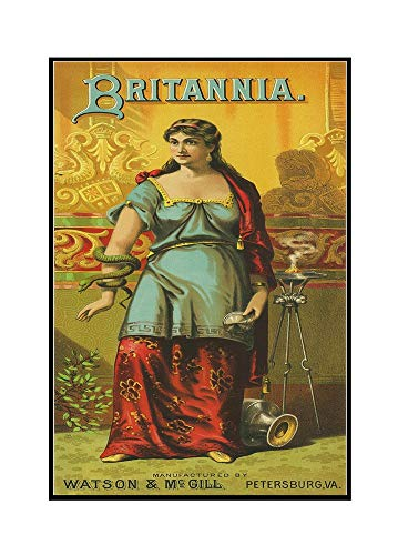 - Petersburg, Virginia - Britannia Brand Tobacco Label (17 1/8x36 Framed Gallery Wrapped Stretched Canvas)