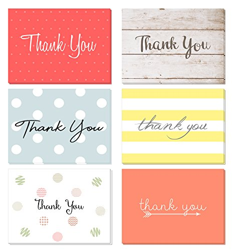 (48 Pack) Thank You Cards Set with Envelopes - Professional Paper with red Yellow Silver Blue Pink Designs and Blank White Inside - Bulk Pack of Notes Perfect for Baby Shower Wedding Birthday Party ()