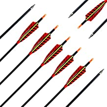 Letszhu Hunting Archery Carbon Arrow, Target Practice Arrow 500 Spine Fletched 4 inch Real Feathers with Field Points for Compound Recurve Longbow (Pack of 6)