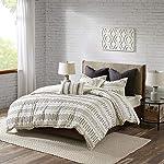 INKIVY-100-Cotton-Duvet-Mid-Century-Modern-Design-All-Season-Comforter-Cover-Bedding-Set-Matching-Shams-FullQueen88x92-Rhea-Ivory-Geometric-Clipped-Jacquard
