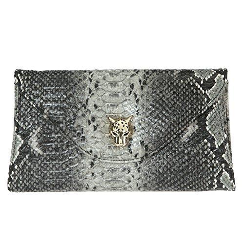 Clutch Python Envelope (La Cle LA-021 Python Envelope Clutch Shoulder Bag (Grey/Black Python))