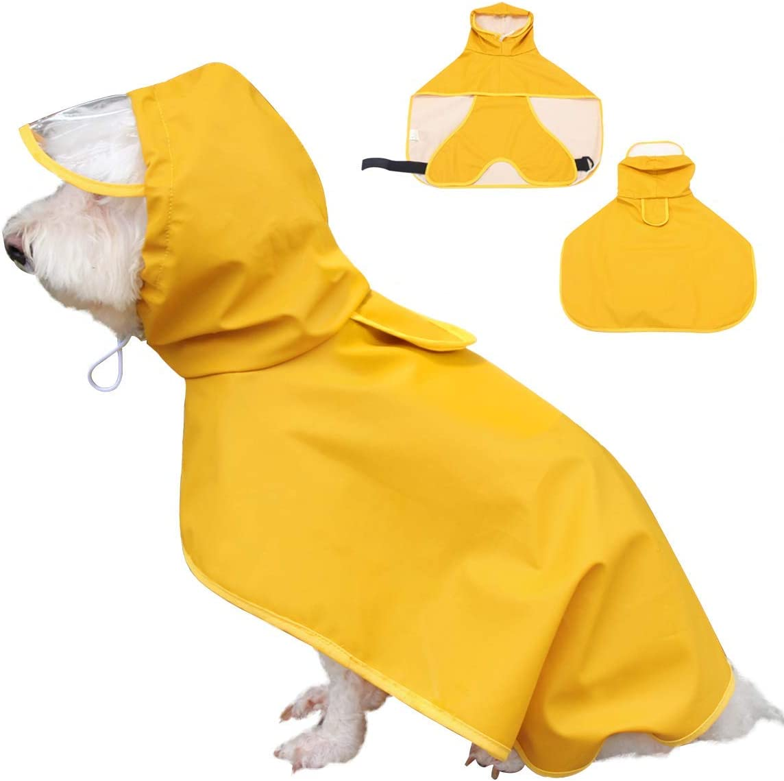 Dociote Impermeable para Perros Mascotas Ajustable Respirante Capa de Lluvia Chubasquero con Capucha & Collar Agujero para Perro pequeño Mediano PU Amarillo