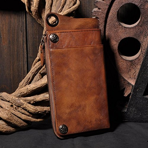 HANDMADE VEGETABLE TANNED FULL GRAIN LEATHER WALLET, LONG PURSE, BUTTON CLUTCH by Jellybean Gorilla