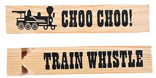 "Kangaroo's Wooden Train Whistles, Train Engineer Whistles, 6"" (18 Pack)"