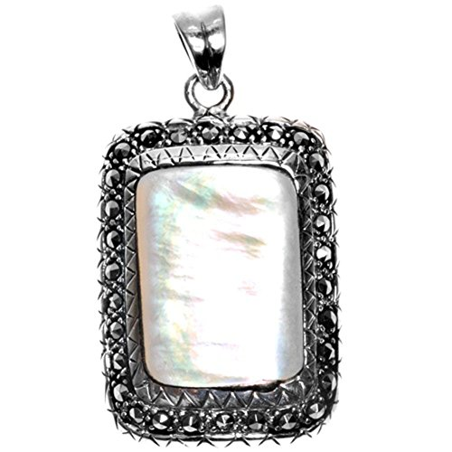 (Pendant Simulated Mother of Pearl Simulated Marcasite .925 Sterling Silver Charm - Silver Jewelry Accessories Key Chain Bracelet Necklace Pendants )