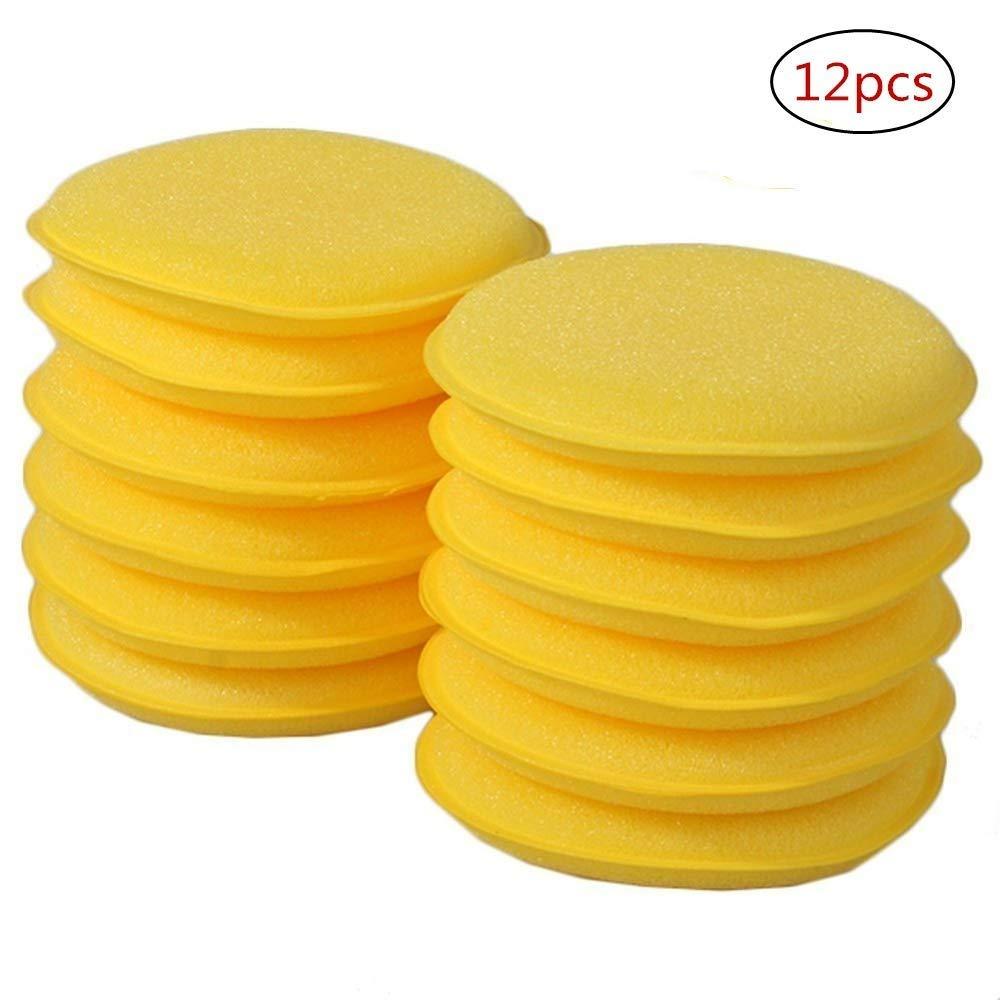CXUKUN 12 Pack Microfiber Applicator Pads Car Cleaning Polishing Waxing Foam Sponge Wax Applicator Pads Car Vehicle Glass Waxing Polish Cleaning-Yellow