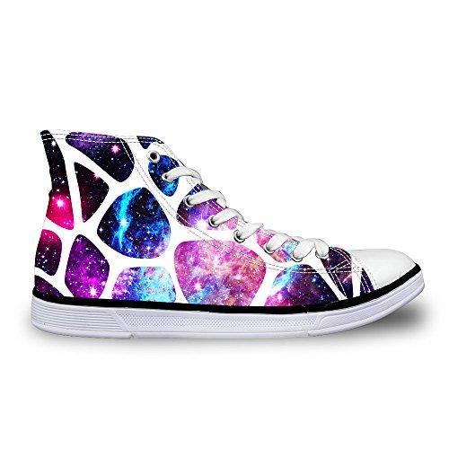 Per Te Disegni Glitter Scintillanti Unisex Alta Cima Donna Uomo Galaxy Scarpe Tela Moda Sneakers Lace Up Stripe 5