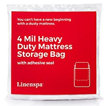 LINENSPA Heavyweight 4 mil Mattress Bag with Adhesive Closure Strip - Moving and Storage Plastic Cover - Full / Queen