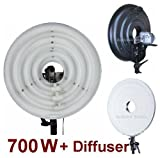 Ardinbir Studio 700W Daylight Cool Video Ring Light Kit with White Diffuser for DV Camcorder, Outdoor, and wedding lighting