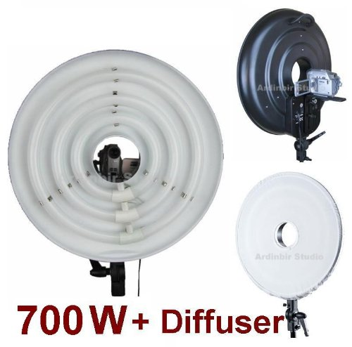 Ardinbir Studio 700W Daylight Cool Video Ring Light Kit with White Diffuser for DV Camcorder, Outdoor, and wedding lighting by Ardinbir Studio