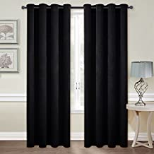 Patio Blackout Velvet Curtain Panels - Classic Velvet Woven Home Theater Eyelet Top Drapes by NICETOWN(One Pair, W52xL96-inch, Almond Jet Black)