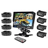 """remote control 18 wheeler trucks - Pyle Mobile Video Surveillance System - Weatherproof Rearview, Backup and Dash Cam with HD 4 IR LED Night Vision Cameras and 7"""" Monitor for Trucks, Trailers, Vans, Buses and Vehicles - PLCMTR74"""