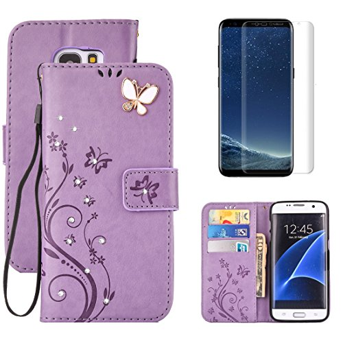 For Samsung Galaxy S6 Wallet Case with Screen Protector,OYIME with Glitter Crystal Diamonds Butterfly Flower Pattern Magnetic Flip Leather Protective Case with Card Slot Full Body Cover - Purple by OYIME