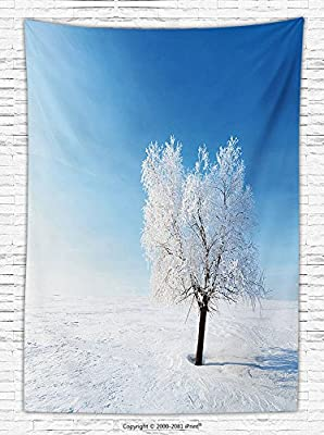 Winter Decorations Fleece Throw Blanket Single Tree on Snow Cover Field with Vibrant Sky Blizzard Frozen Concept Throw Blanket Blue White