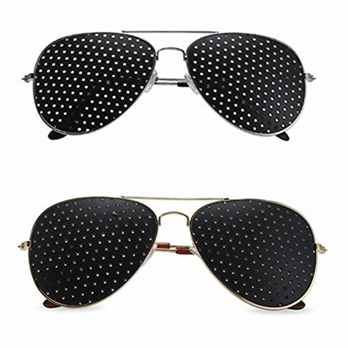 Anti-myopia Pin-hole Glasses Pin hole Sunglasses Eye Exercise Eyesight Improve Natural Healing Vision Correction And Improvement Glasses - 2pcs Packs (1pcs Gold&1pcs Silver Color)