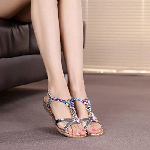 été Plage Argent de Confortables Familizo Strass Femmes Familizo Chaussures Sandales 0aE6xq
