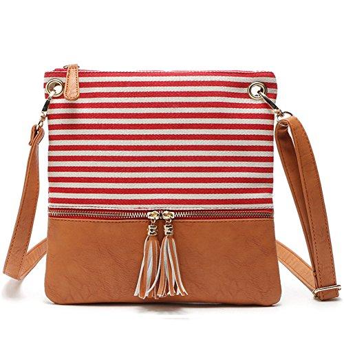 Crossbody Tassel Leather Red Double Handbag Girls Adjustable Striped Bag Bag Zipper Canvas Messenger Lady Women Stripe Shoulder for qxYEYBatS