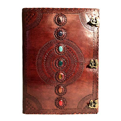Seven Chakra Medieval Stone Embossed Handmade Leather Journal Book of Shadows Notebook Office Diary College Book Poetry Book Sketch Book 14 x 22 Inches (Shadows Journal)