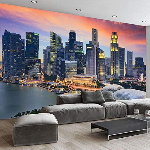 YYNIGHT Wallpaper 3D Singapore City Building Night View Mural Living Room Office Backdrop Wall Decor Modern Fresco-350x256cm