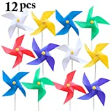 Fansport 12PCS Kids Pinwheel Wind Spinner Solid Color Plastic Pinwheel for Outdoor Garden Party Decor
