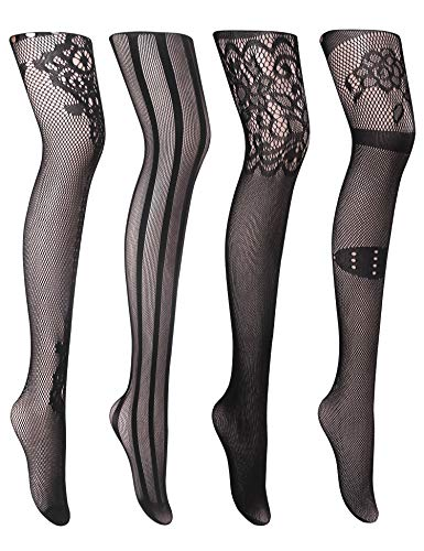 Joyaria Womens Sexy Suspender Tights Fishnet Thigh-High Garter Stockings Pantyhose Black Pattern 4 Pack